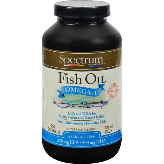 Spectrum essentials fish oil omega 3 1000 mg 250 softgels for Spectrum fish oil
