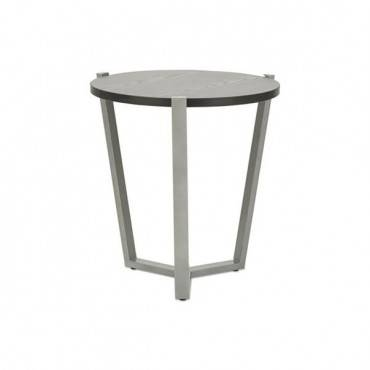Round Occasional Corner Table, 21 1/4 Dia X 22 3/4h, Black/silver
