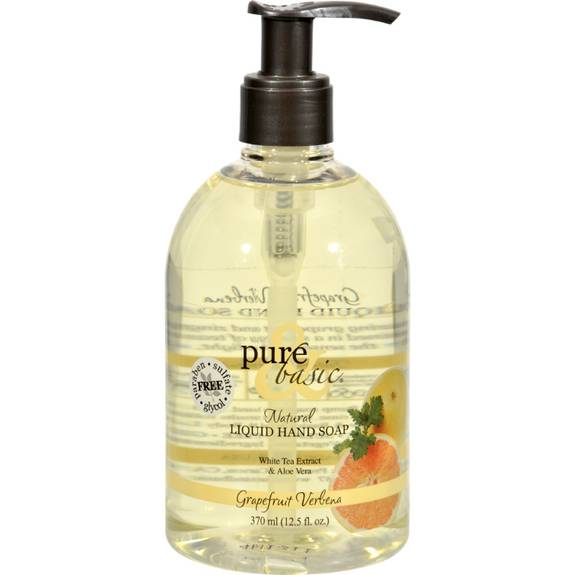 Pure And Basic Natural Liquid Hand Soap Grapefruit Verbena