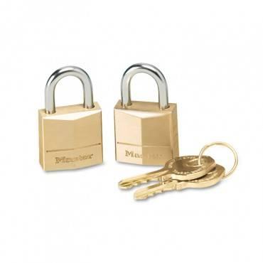 """Three-Pin Brass Tumbler Locks, 3/4"""" Wide, 2 Locks & 2 Keys, 2/pack"""