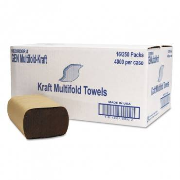 Multifold Towel, 1-Ply, Brown, 250/pack, 16 Packs/carton