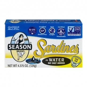 Season Brand Sardines in Water  - No Salt Added - Case of 12 - 4.375 oz.
