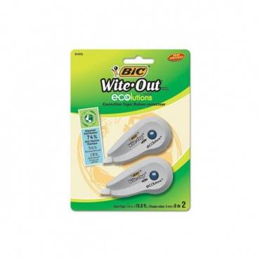 """Wite-Out Ecolutions Mini Correction Tape, White, 1/5"""" X 235"""", 2/pack"""