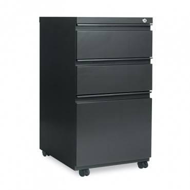 Three-Drawer Metal Pedestal File W/full-Length Pull, 14 7/8 X 19 1/8, Charcoal