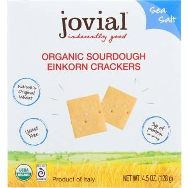 Jovial Sourdough Einkorn Crackers - Sea Salt - Case of 10 - 4.5 oz.