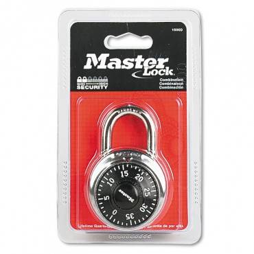 """Combination Lock, Stainless Steel, 1 7/8"""" Wide, Black Dial"""