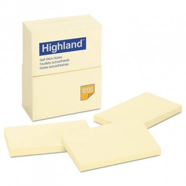 Self-Stick Notes, 3 X 5, Yellow, 100-Sheet, 12/pack
