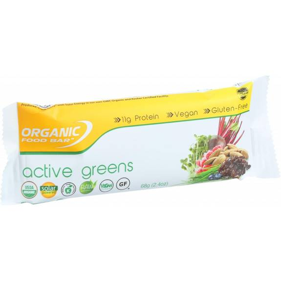Organic food bar active greens 68 g bars case of 12 for Organic food bar