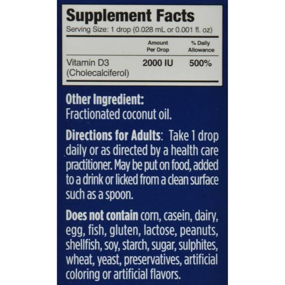 D Drops Liquid Vitamin D3 2000 Iu 0 17 Fl Oz