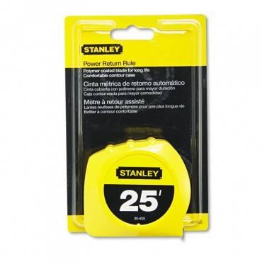 "Power Return Tape Measure, Plastic Case, 1"" X 25ft, Yellow"