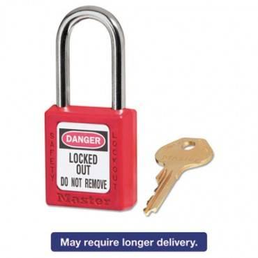 "Government Safety Lockout Padlock, Zenex, 1 1/2"", Red, 1 Key, 6/box"
