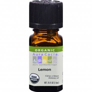 Aura Cacia Organic Essential Oil - Lemon - .25 oz