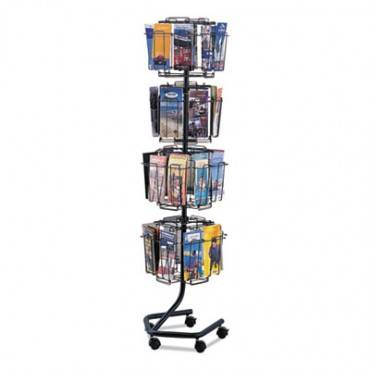 Wire Rotary Display Racks, 32 Compartments, 15w X 15d X 60h, Charcoal