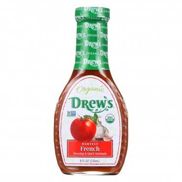 Drew's All Natural Organic Dressing and Quick Marinade - Harvest French - Case of 6 - 8 oz.