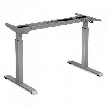 "2-Stage Electric Adjustable Table Base, 27 1/4"" To 47 1/4"" High, Gray"