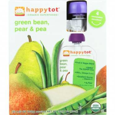 Happy Tot Baby Food - Organic - Green Beans Pear and Pea - 4.22 oz - Case of 16