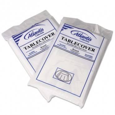Plastic Table Cover, 84dia, White, 12/carton