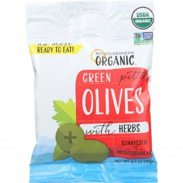 Mediterranean Organic Olives - Organic - Green - Pitted - with Herbs - Snack Pack - 2.5 oz - case of