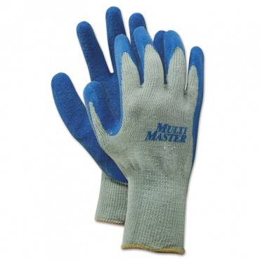 Rubber Palm Gloves, Gray/blue, Medium, 1 Dozen