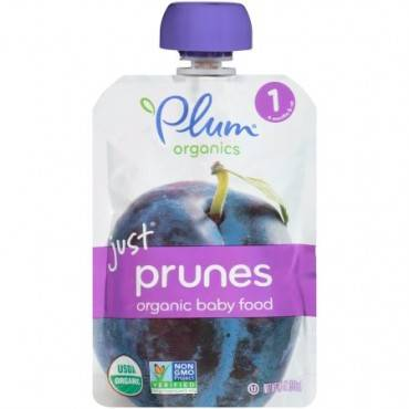 Plum Organics Just Fruit - Organic - Prunes - Stage 1 - 4 Months and Up - 3.5 oz - Case of 6