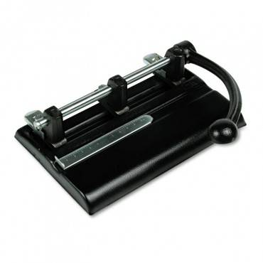 """40-Sheet Lever Action Two- To Seven-Hole Punch, 13/32"""" Holes, Black"""