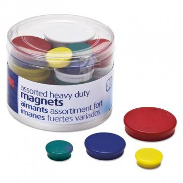 Assorted Heavy-Duty Magnets, Circles, Assorted Sizes & Colors, 30/tub