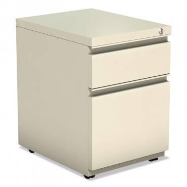 Two-Drawer Metal Pedestal Box File W/full Length Pull, 14 7/8w X 19 1/8d, Putty