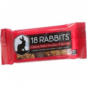 18 Rabbits Organic Granola Bar - Cherry Dark Chocolate and Almond - Case of 12 - 1.6 oz Bars