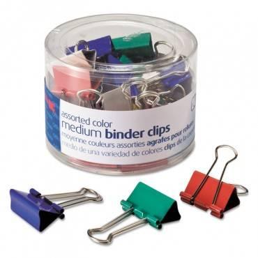 Binder Clips, Metal, Assorted Colors, Medium, 24/pack