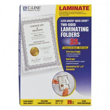 """Quick Cover Laminating Pockets, 12 Mil, 9 1/8"""" X 11 1/2"""", 25/pack"""