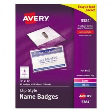 Badge Holder Kit W/laser/inkjet Insert, Top Load, 3 X 4, White, 40/box