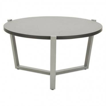 Round Occasional Coffee Table, 29 3/8 Dia X 15 1/2h, Black/silver