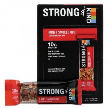Strong And Kind Bars, Honey Smoked Bbq Almond, 1.6 Oz Bar, 12/box
