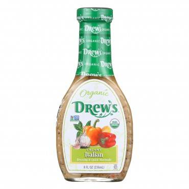 Drew's All Natural Organic Dressing and Quick Marinade - Creamy Italian - Case of 6 - 8 oz.