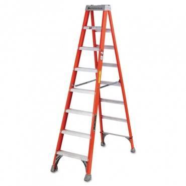 Fs1500 Series Fiberglass Step Ladder, 8 Ft, 5-Step, Red
