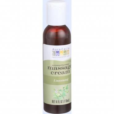Aura Cacia Aromatherapy Massage Cream - Unscented - 4 oz