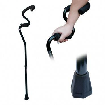Forearm Cane with Hexagonal Floor Tip, Black Part No. SAM40012 Qty 1