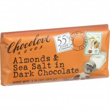Chocolove Xoxox Premium Chocolate Bar - Dark Chocolate - Almonds and Sea Salt - Mini 1.3 oz Bars - C