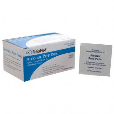 "ReliaMed Sterile Alcohol Wipe, 1-Ply, 1-1/8"" x 1-1/8"" (100 count) Part No. AP100S Qty  Per Box"