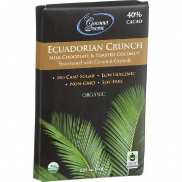 Coconut Secret Organic Chocolate Crunch Bar - Ecuadorian Milk Chocolate Crunch - Case of 12 - 2.25 o