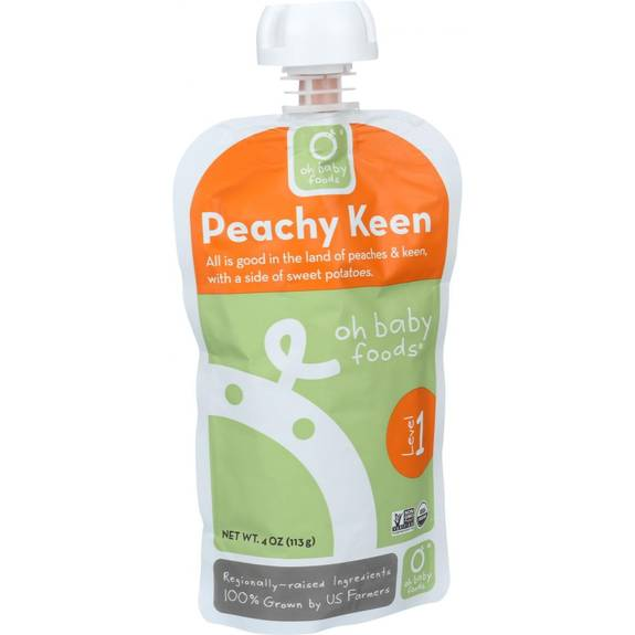 Oh Baby Foods Organic Baby Food Puree Level 1 Peachy