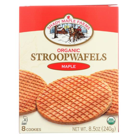 Shady Maple Farms Organic Maple Waffle Cookie - Case of 8 - 8.5 oz.