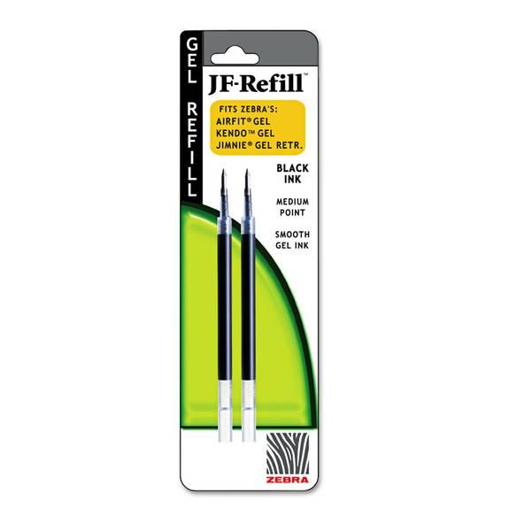 Jf Refill For Jimnie Gel Rt/sarasa/z-Grip Gel Roller Ball, Med, Blk, 2/pack