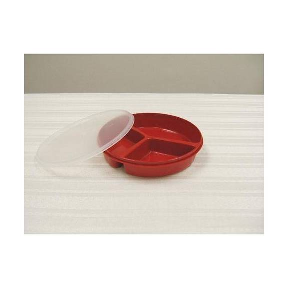Get The Scoop And Dish It Out: Maddak Scoop Dish Partitioned W/Lid Redware Part No.745270004