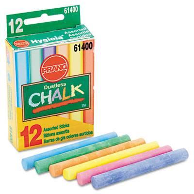 Hygieia Dustless Board Chalk, 3 1/4 X 3/8. Assorted, 12/box