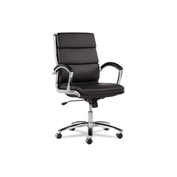 Alera Neratoli Mid-back Slim Profile Chair, Black Leather, Chrome Frame