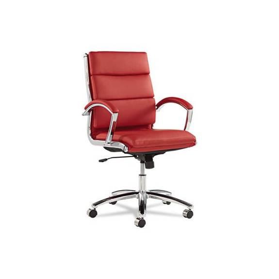 Alera Neratoli Mid-back Slim Profile Chair, Red Leather, Chrome Frame
