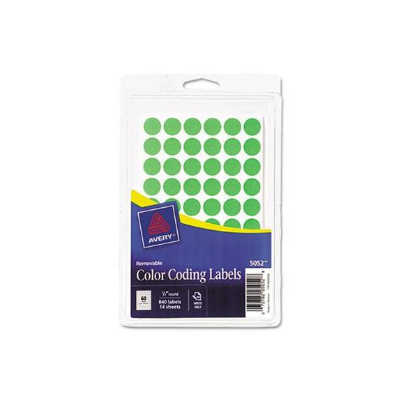 "Handwrite Only Removable Round Color-Coding Labels, 1/2"" Dia, Neon Green, 840/pk"