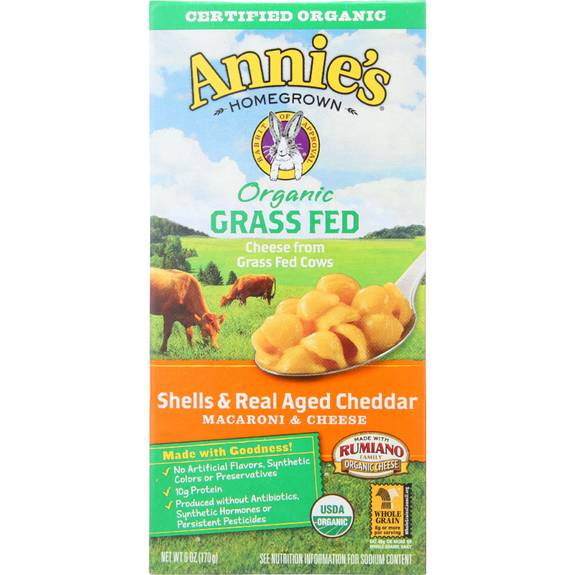Annies Homegrown Macaroni And Cheese - Organic - Grass Fed - Shells And Real Aged Cheddar - 6 Oz - Case Of 12