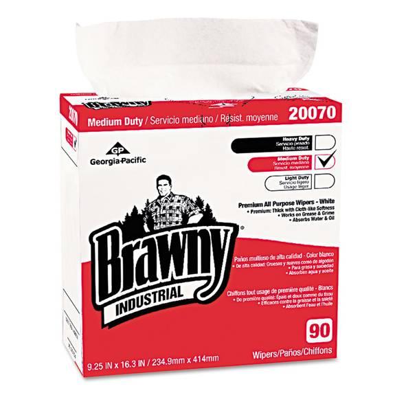 Medium-Duty Premium Wipes, 9 1/4 X 16 3/8, White, 90/box